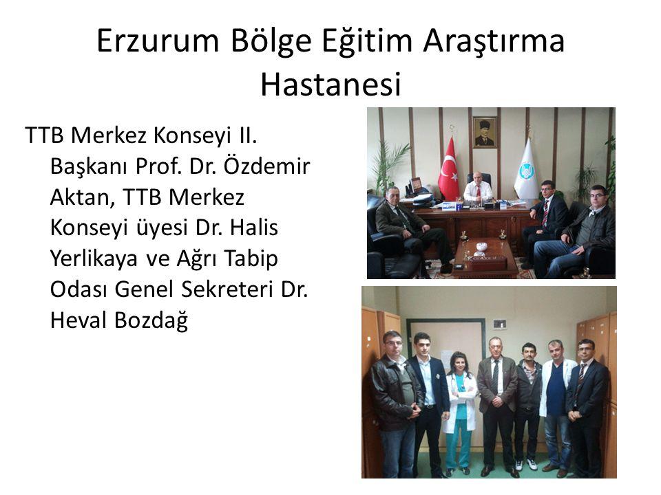 Erzurum Bölge Eğitim Araştırma Hastanesi TTB Merkez Konseyi II. Başkanı Prof. Dr. Özdemir Aktan, TTB Merkez Konseyi üyesi Dr. Halis Yerlikaya ve Ağrı