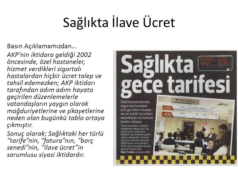 Sağlıkta İlave Ücret Basın Açıklamamızdan… AKP'nin iktidara geldiği 2002 öncesinde, özel hastaneler, hizmet verdikleri sigortalı hastalardan hiçbir üc