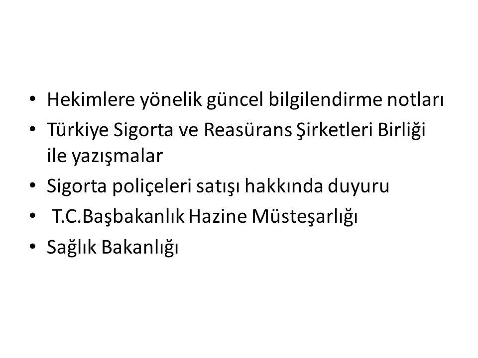 Hekimlere yönelik güncel bilgilendirme notları Türkiye Sigorta ve Reasürans Şirketleri Birliği ile yazışmalar Sigorta poliçeleri satışı hakkında duyur