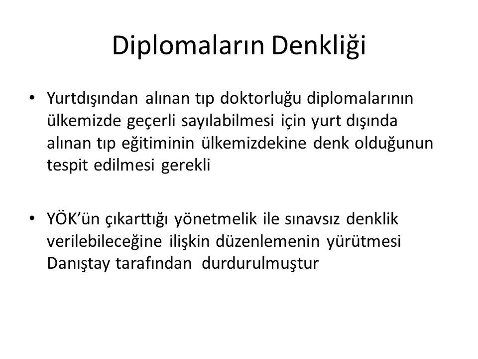 Diplomaların Denkliği Yurtdışından alınan tıp doktorluğu diplomalarının ülkemizde geçerli sayılabilmesi için yurt dışında alınan tıp eğitiminin ülkemi