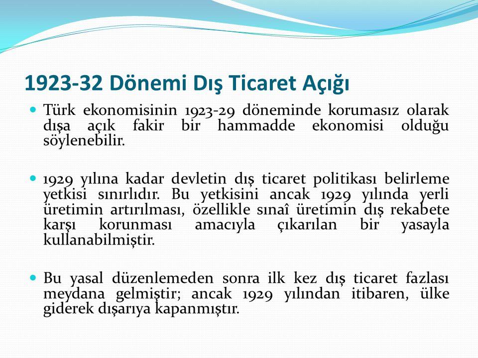1923-32 Dönemi Dış Ticaret Açığı Türk ekonomisinin 1923-29 döneminde korumasız olarak dışa açık fakir bir hammadde ekonomisi olduğu söylenebilir. 1929