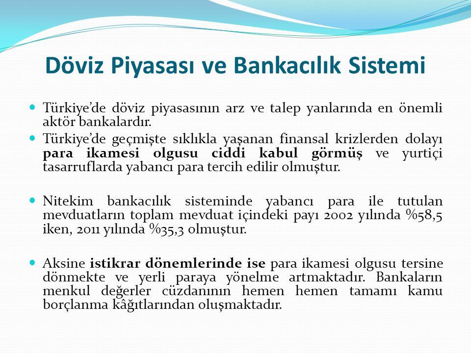 Döviz Piyasası ve Bankacılık Sistemi Türkiye'de döviz piyasasının arz ve talep yanlarında en önemli aktör bankalardır. Türkiye'de geçmişte sıklıkla ya