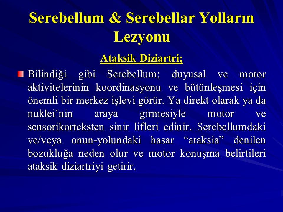 Serebellum & Serebellar Yolların Lezyonu Ataksik Diziartri; Bilindiği gibi Serebellum; duyusal ve motor aktivitelerinin koordinasyonu ve bütünleşmesi