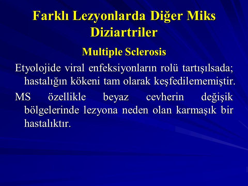 Farklı Lezyonlarda Diğer Miks Diziartriler Multiple Sclerosis Etyolojide viral enfeksiyonların rolü tartışılsada; hastalığın kökeni tam olarak keşfedi