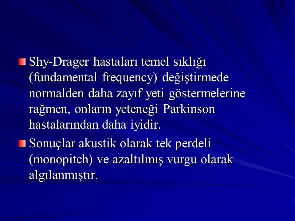 Shy-Drager hastaları temel sıklığı (fundamental frequency) değiştirmede normalden daha zayıf yeti göstermelerine rağmen, onların yeteneği Parkinson ha