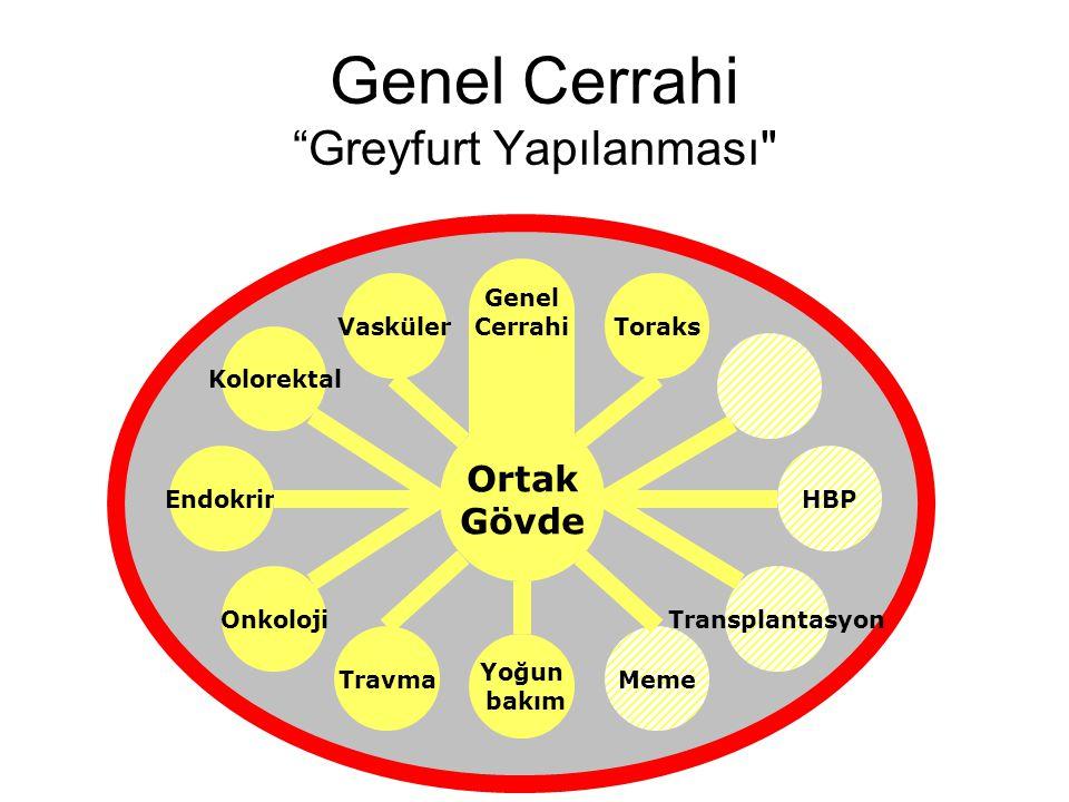 Genel Cerrahi Greyfurt Yapılanması Ortak Gövde Endokrin Vasküler Genel Cerrahi Travma Onkoloji Yoğun bakım Meme HBP Transplantasyon Toraks Kolorektal