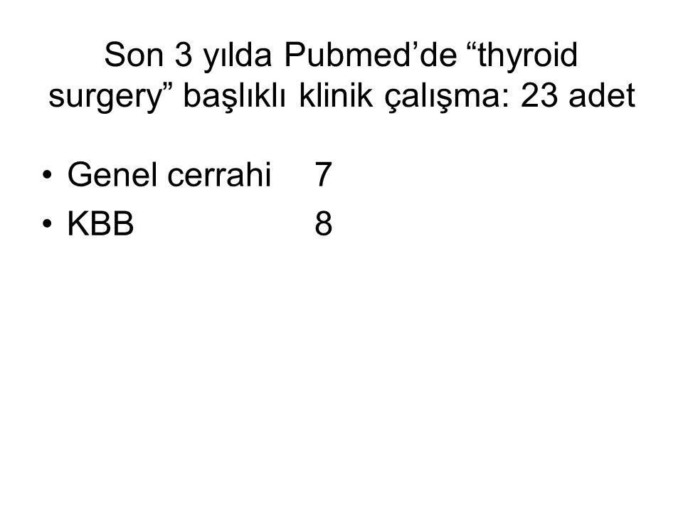 Son 3 yılda Pubmed'de thyroid surgery başlıklı klinik çalışma: 23 adet Genel cerrahi7 KBB8