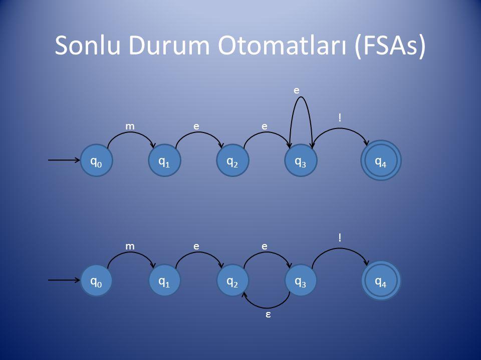 Sonlu Durum Otomatları (FSAs) q0q0 q1q1 q2q2 q3q3 q4q4 mee e ! q0q0 q1q1 q2q2 q3q3 q4q4 mee ! ε