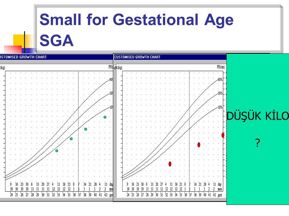 Small for Gestational Age SGA SGA infantlar, gebelik haftasına göre <10 prct DÜŞÜK KİLO ?