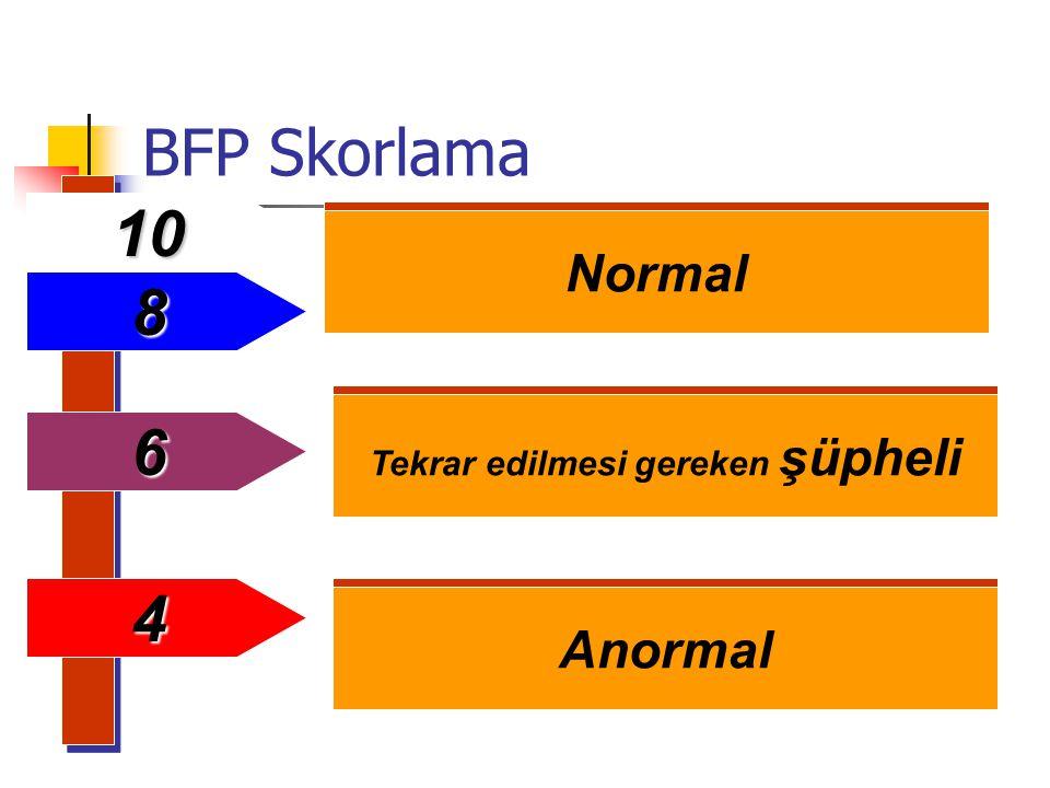 BFP Skorlama Normal Tekrar edilmesi gereken şüpheli Anormal 6 4 10 8