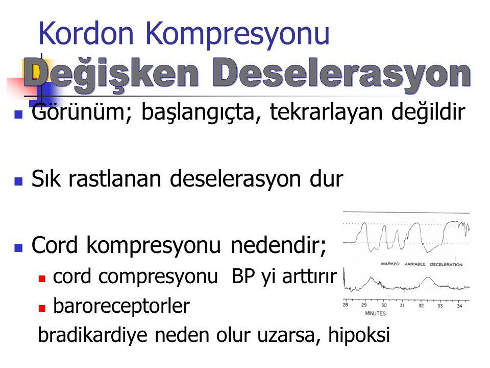Görünüm; başlangıçta, tekrarlayan değildir Sık rastlanan deselerasyon dur Cord kompresyonu nedendir; cord compresyonu BP yi arttırır baroreceptorler bradikardiye neden olur uzarsa, hipoksi Kordon Kompresyonu