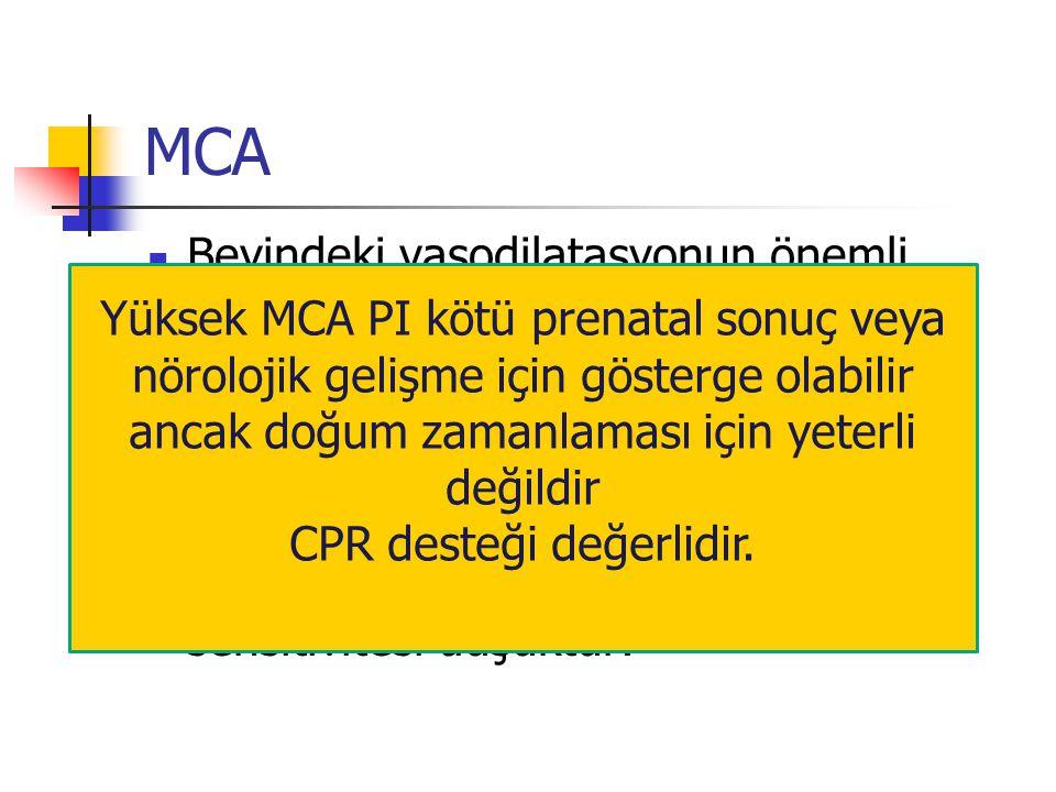 MCA Beyindeki vasodilatasyonun önemli göstergesidir Hipoksi belirteci yerine konabilir Spesifite yüksek olmasına karşın sensitivitesi düşüktür.