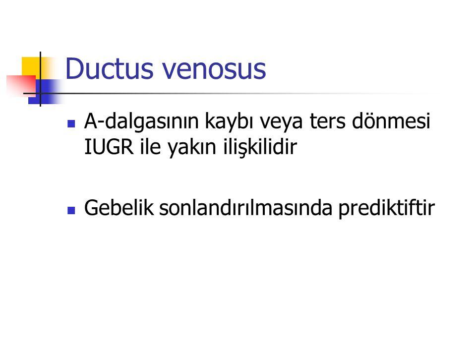 Ductus venosus A-dalgasının kaybı veya ters dönmesi IUGR ile yakın ilişkilidir Gebelik sonlandırılmasında prediktiftir