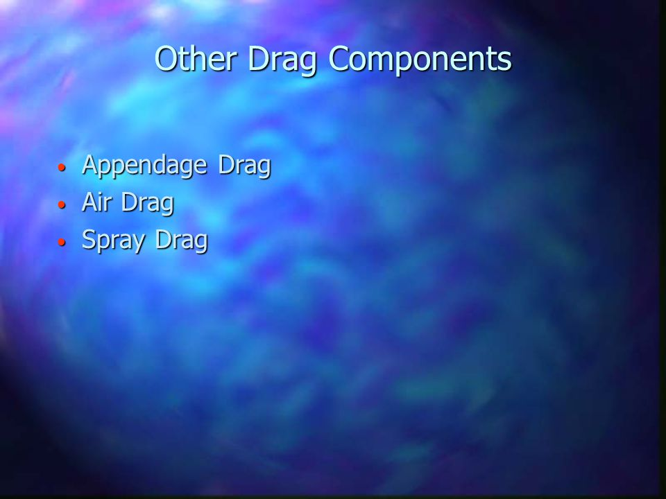 Other Drag Components Appendage Drag Appendage Drag Air Drag Air Drag Spray Drag Spray Drag