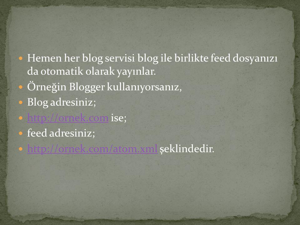 Hemen her blog servisi blog ile birlikte feed dosyanızı da otomatik olarak yayınlar.