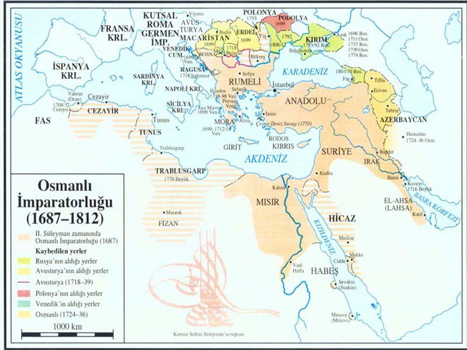 Klasik Osmanlı Düzeninin Bozulması 1571'de İnebahtı yenilgisi ile Doğu Akdeniz'deki üstünlüğün yitirilmeye başlanması Mısır, Kuzey Afrika ve Lübnan gibi ülkeler üzerindeki denizaşırı iktisadi ve siyasi hakimiyetin sarsılamaya başlaması Artan nüfusun beslenememesi Anadolu'da başıboş gezen askerlerin çıkardığı isyanlar Tımar düzeninin bozulması