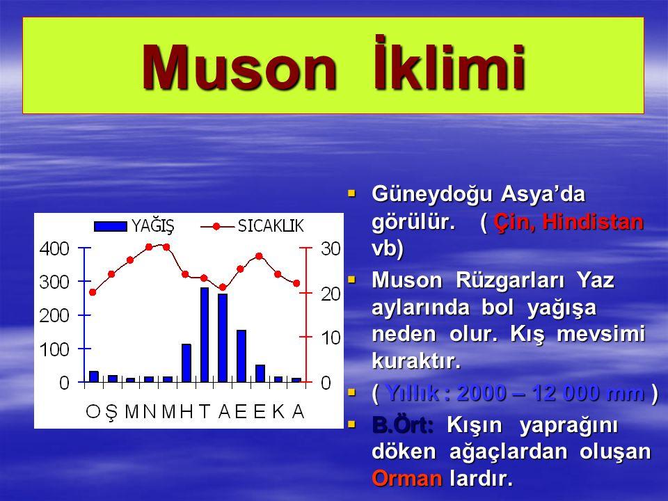 Muson İklimi  Güneydoğu Asya'da görülür. ( Çin, Hindistan vb)  Muson Rüzgarları Yaz aylarında bol yağışa neden olur. Kış mevsimi kuraktır.  ( Yıllı