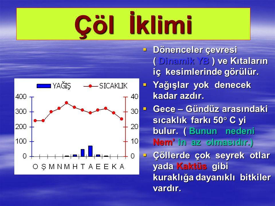 Çöl İklimi  Dönenceler çevresi ( Dinamik YB ) ve Kıtaların iç kesimlerinde görülür.  Yağışlar yok denecek kadar azdır.  Gece – Gündüz arasındaki sı