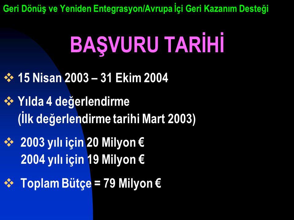 Geri Dönüş ve Yeniden Entegrasyon/Avrupa İçi Geri Kazanım Desteği BAŞVURU TARİHİ  15 Nisan 2003 – 31 Ekim 2004  Yılda 4 değerlendirme (İlk değerlendirme tarihi Mart 2003)  2003 yılı için 20 Milyon € 2004 yılı için 19 Milyon €  Toplam Bütçe = 79 Milyon €