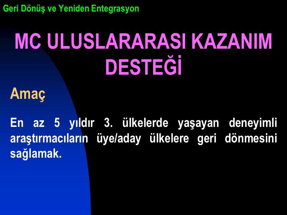 Geri Dönüş ve Yeniden Entegrasyon MC ULUSLARARASI KAZANIM DESTEĞİ Amaç En az 5 yıldır 3.