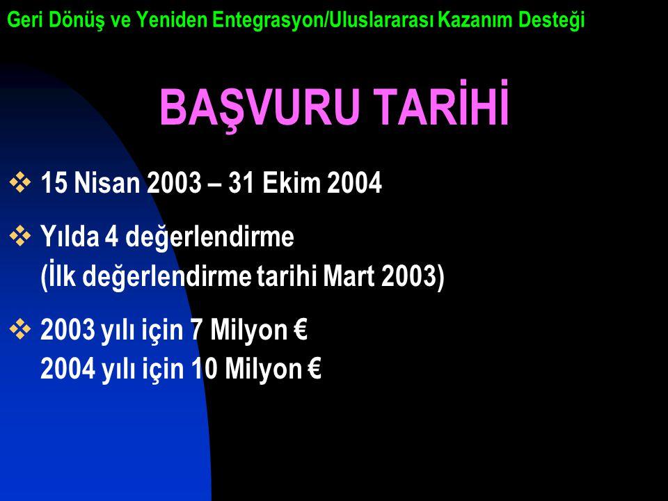Geri Dönüş ve Yeniden Entegrasyon/Uluslararası Kazanım Desteği BAŞVURU TARİHİ  15 Nisan 2003 – 31 Ekim 2004  Yılda 4 değerlendirme (İlk değerlendirme tarihi Mart 2003)  2003 yılı için 7 Milyon € 2004 yılı için 10 Milyon €