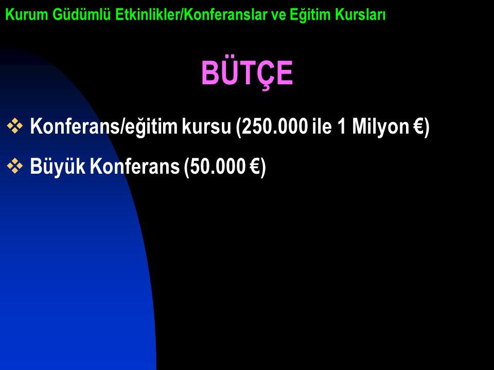 Kurum Güdümlü Etkinlikler/Konferanslar ve Eğitim Kursları BÜTÇE  Konferans/eğitim kursu (250.000 ile 1 Milyon €)  Büyük Konferans (50.000 €)