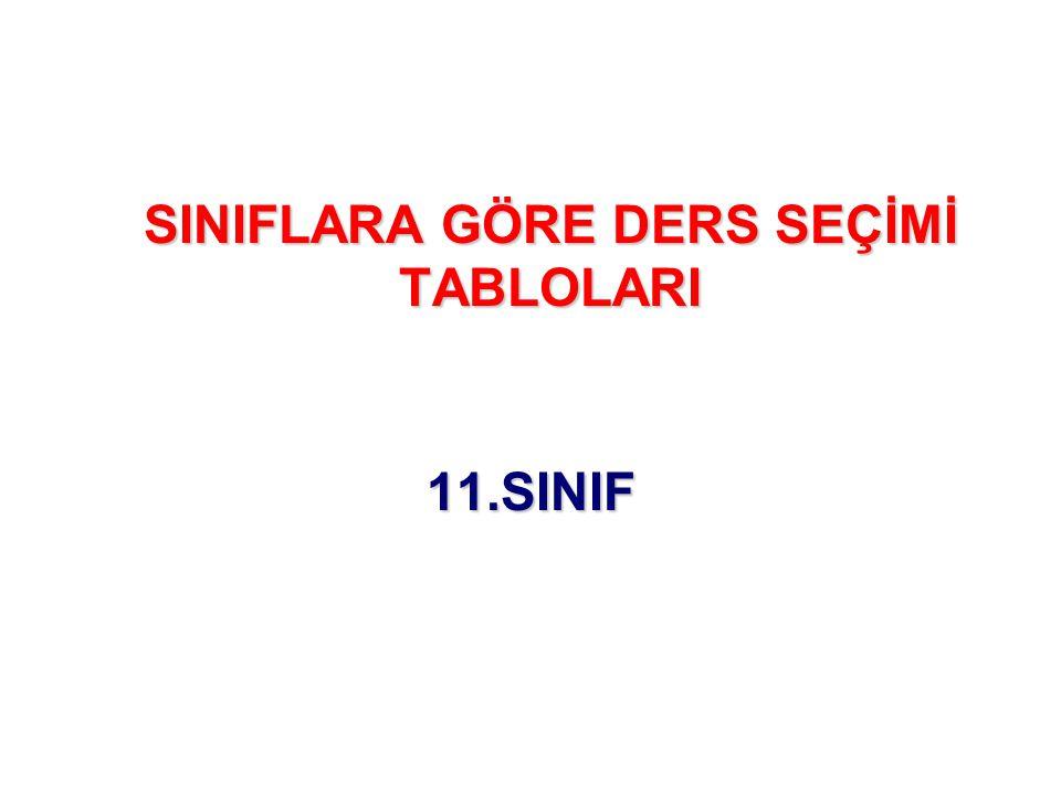 SINIFLARA GÖRE DERS SEÇİMİ TABLOLARI 11.SINIF