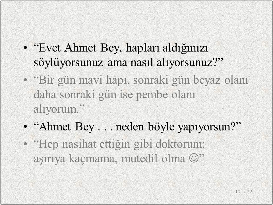 Evet Ahmet Bey, hapları aldığınızı söylüyorsunuz ama nasıl alıyorsunuz Bir gün mavi hapı, sonraki gün beyaz olanı daha sonraki gün ise pembe olanı alıyorum. Ahmet Bey...