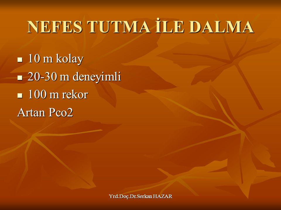 Yrd.Doç.Dr.Serkan HAZAR NEFES TUTMA İLE DALMA 10 m kolay 10 m kolay 20-30 m deneyimli 20-30 m deneyimli 100 m rekor 100 m rekor Artan Pco2