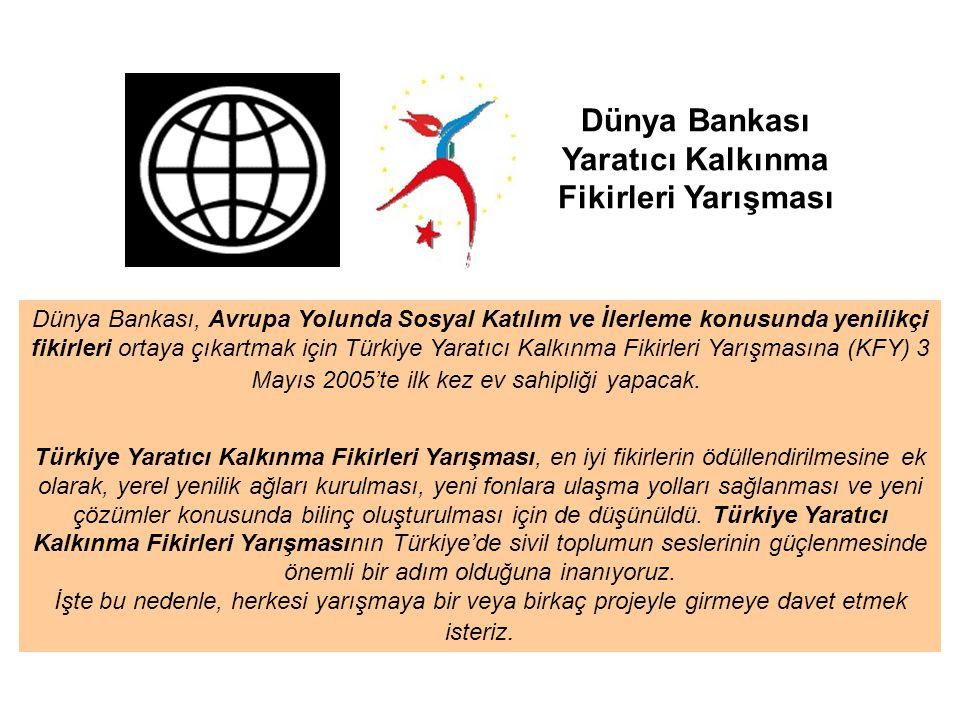 Dünya Bankası Yaratıcı Kalkınma Fikirleri Yarışması Dünya Bankası, Avrupa Yolunda Sosyal Katılım ve İlerleme konusunda yenilikçi fikirleri ortaya çıkartmak için Türkiye Yaratıcı Kalkınma Fikirleri Yarışmasına (KFY) 3 Mayıs 2005'te ilk kez ev sahipliği yapacak.