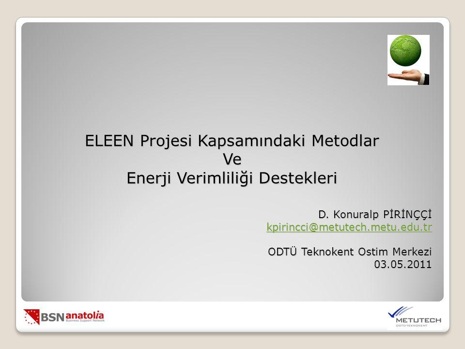 ELEEN Projesi Kapsamındaki Metodlar Ve Enerji Verimliliği Destekleri D.