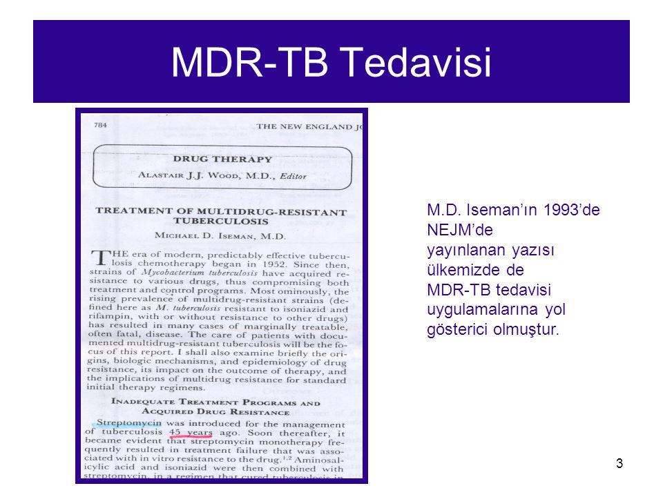 3 MDR-TB Tedavisi M.D. Iseman'ın 1993'de NEJM'de yayınlanan yazısı ülkemizde de MDR-TB tedavisi uygulamalarına yol gösterici olmuştur.