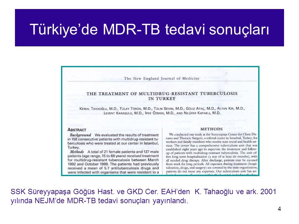 4 Türkiye'de MDR-TB tedavi sonuçları SSK Süreyyapaşa Göğüs Hast. ve GKD Cer. EAH'den K. Tahaoğlu ve ark. 2001 yılında NEJM'de MDR-TB tedavi sonuçları