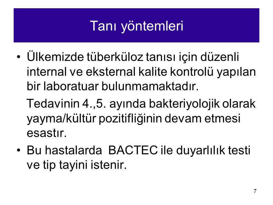7 Tanı yöntemleri Ülkemizde tüberküloz tanısı için düzenli internal ve eksternal kalite kontrolü yapılan bir laboratuar bulunmamaktadır. Tedavinin 4.,