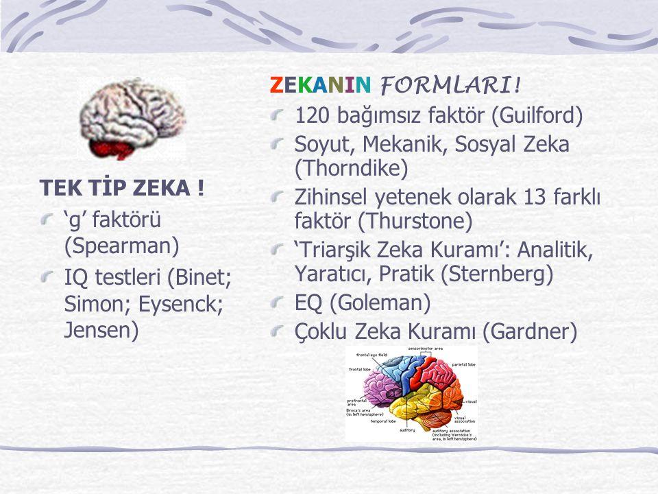 TEK TİP ZEKA ! 'g' faktörü (Spearman) IQ testleri (Binet; Simon; Eysenck; Jensen) ZEKANIN FORMLARI! 120 bağımsız faktör (Guilford) Soyut, Mekanik, Sos