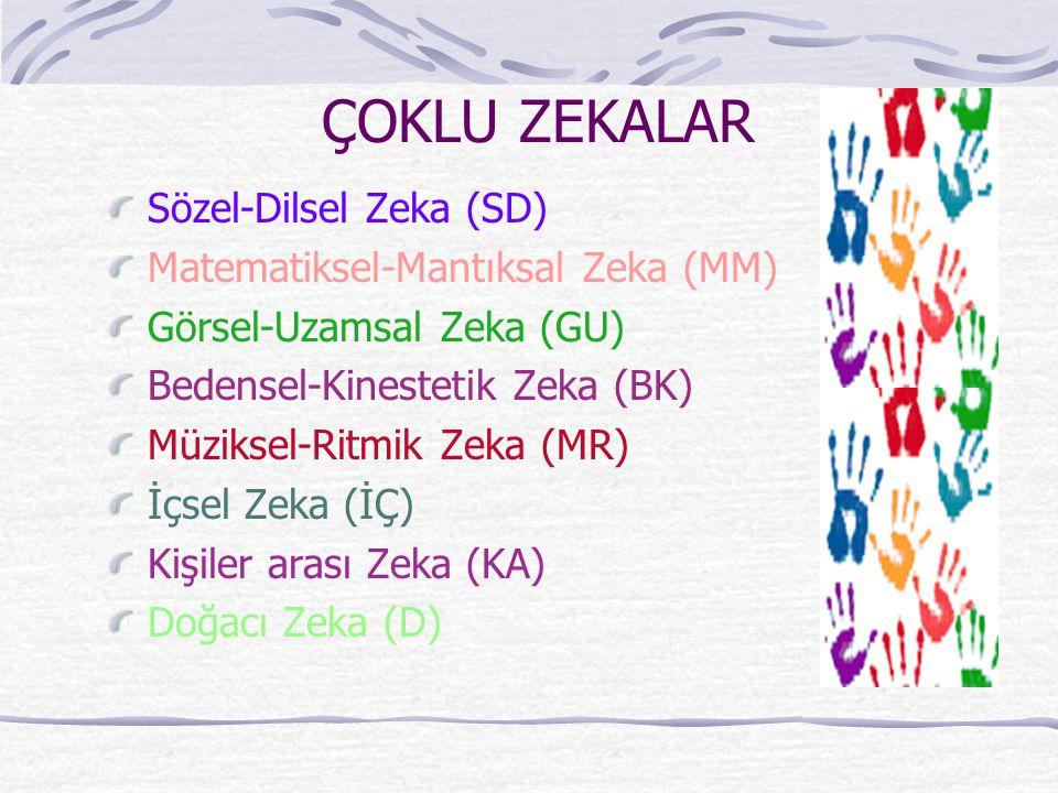 ÇOKLU ZEKALAR Sözel-Dilsel Zeka (SD) Matematiksel-Mantıksal Zeka (MM) Görsel-Uzamsal Zeka (GU) Bedensel-Kinestetik Zeka (BK) Müziksel-Ritmik Zeka (MR)