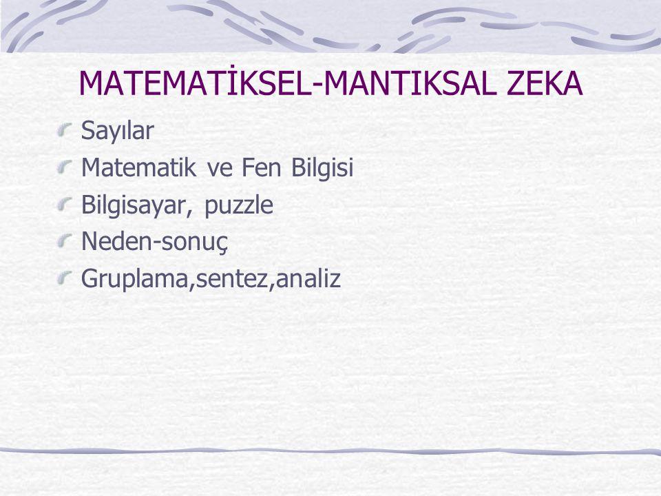 MATEMATİKSEL-MANTIKSAL ZEKA Sayılar Matematik ve Fen Bilgisi Bilgisayar, puzzle Neden-sonuç Gruplama,sentez,analiz