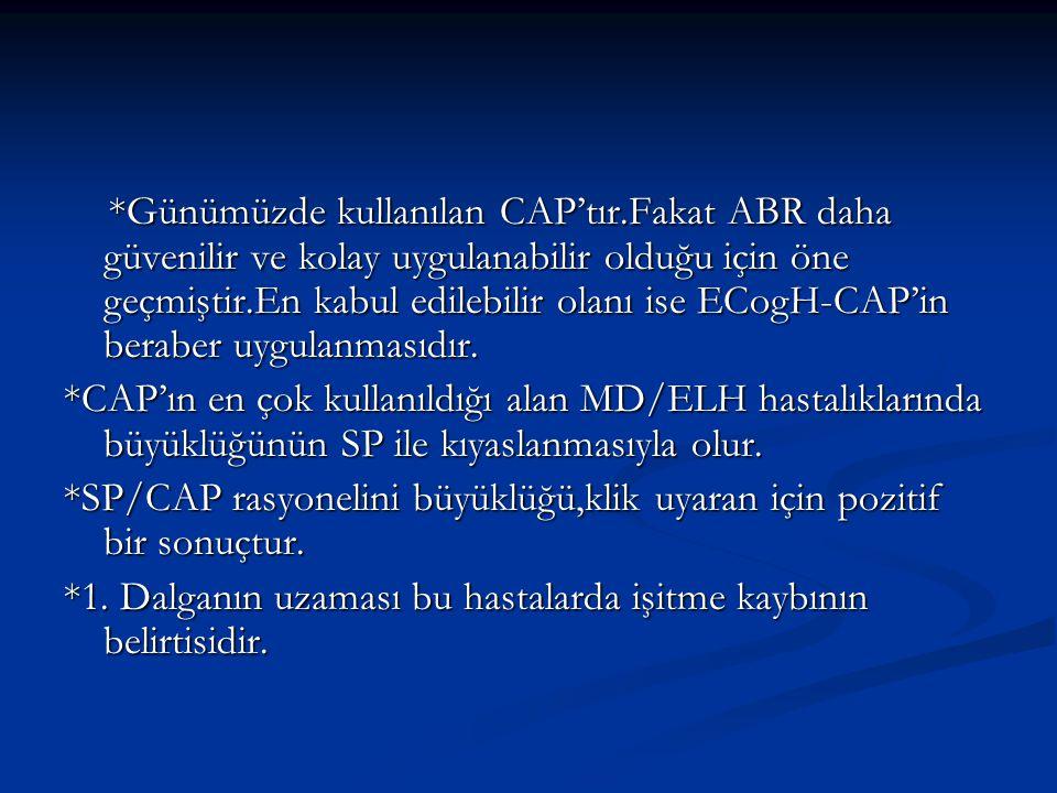 *Günümüzde kullanılan CAP'tır.Fakat ABR daha güvenilir ve kolay uygulanabilir olduğu için öne geçmiştir.En kabul edilebilir olanı ise ECogH-CAP'in ber