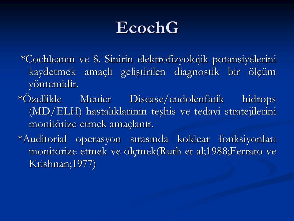 ECochG ve Endolenfatik Kese Cerrahisi: *ECochG,iç kulağın bioelektriksel potansiyellerini monitorize eden bir yöntemdir.Hidropik eendolenfatik sistem dekompresyonunda iç kulağın potansiyellerini yorumlamak için kullanılır.Örn:membranöz labirette rüptür oluşursa fonksiyon kaybı gözlenecektir.(Arenberg 1991) *Arenbberg,Obert ve Gibson'un yaptığı bir araştırmada bir grup hastanın SP/AP oranları preop,periop ve postop karşılaştırılmıştır.(Cerrahi yöntem mastoid şant) *Araştırma sonucunda %64 MD'li hasta SP/AP oranının düştüğü,%34'ünde değişiklik olmadığı,%4'ünde daha da arttığı bulunmuştur.