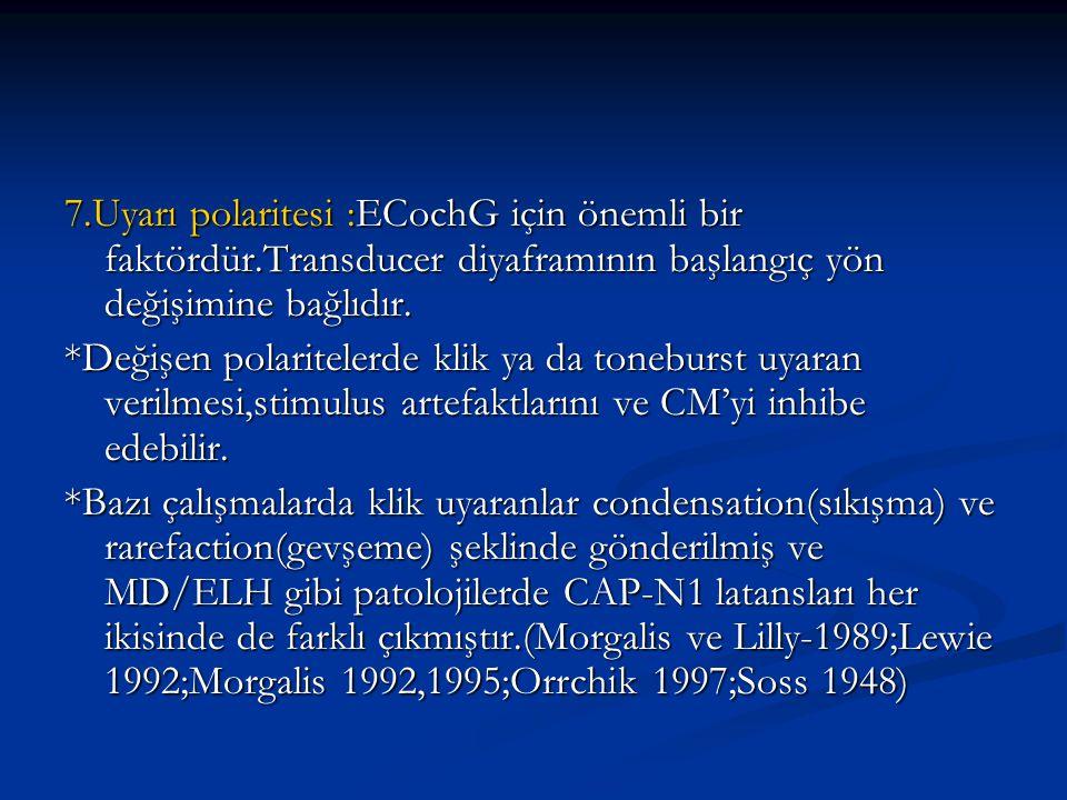 7.Uyarı polaritesi :ECochG için önemli bir faktördür.Transducer diyaframının başlangıç yön değişimine bağlıdır. *Değişen polaritelerde klik ya da tone