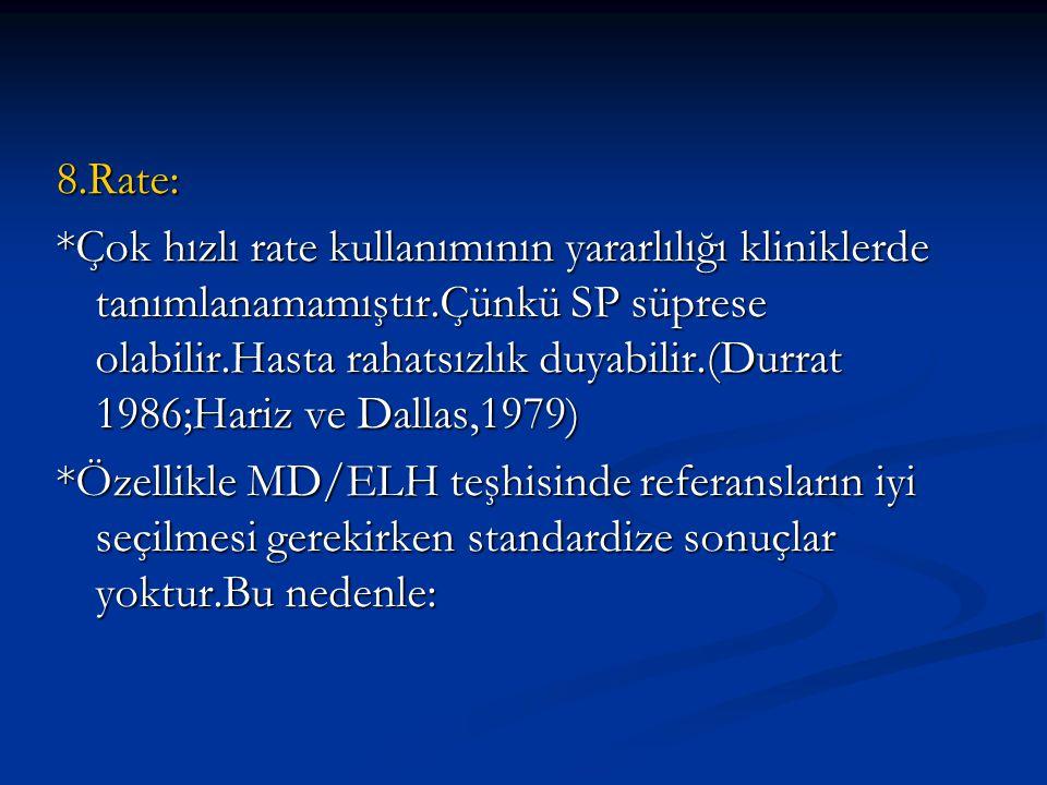 8.Rate: *Çok hızlı rate kullanımının yararlılığı kliniklerde tanımlanamamıştır.Çünkü SP süprese olabilir.Hasta rahatsızlık duyabilir.(Durrat 1986;Hari