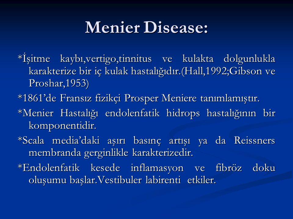 Menier Disease: *İşitme kaybı,vertigo,tinnitus ve kulakta dolgunlukla karakterize bir iç kulak hastalığıdır.(Hall,1992;Gibson ve Proshar,1953) *1861'd