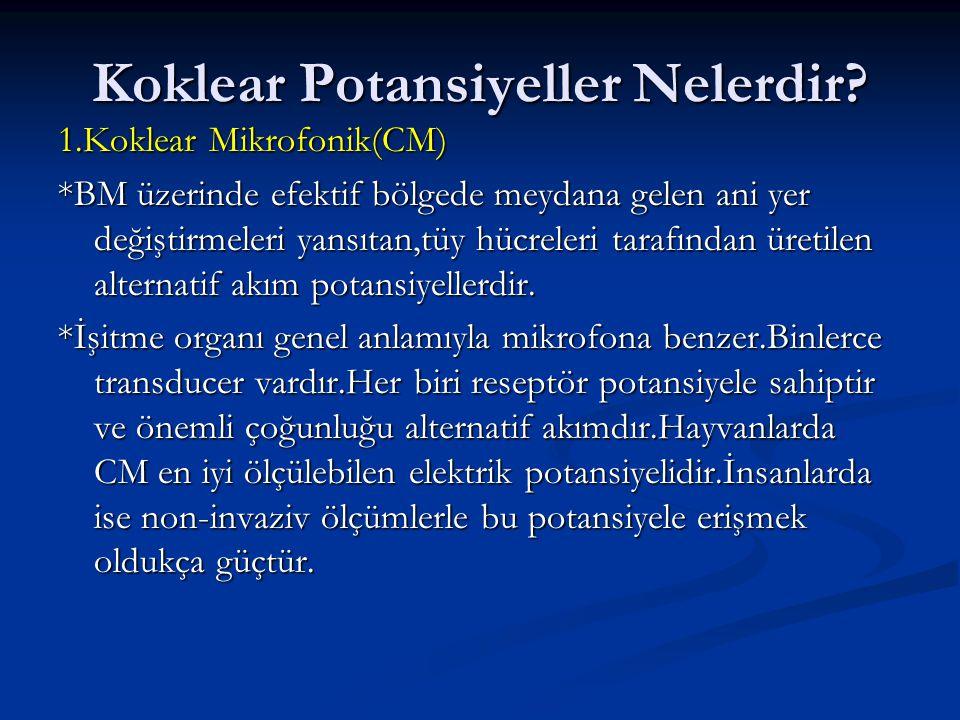 Koklear Potansiyeller Nelerdir? 1.Koklear Mikrofonik(CM) *BM üzerinde efektif bölgede meydana gelen ani yer değiştirmeleri yansıtan,tüy hücreleri tara