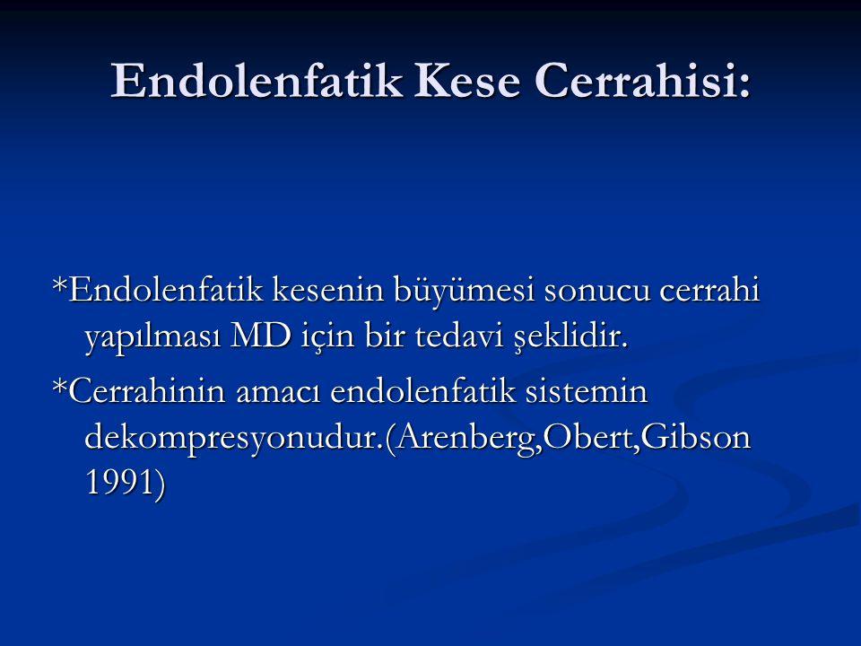 Endolenfatik Kese Cerrahisi: *Endolenfatik kesenin büyümesi sonucu cerrahi yapılması MD için bir tedavi şeklidir. *Cerrahinin amacı endolenfatik siste