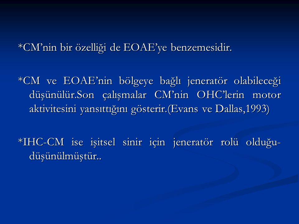*CM'nin bir özelliği de EOAE'ye benzemesidir. *CM ve EOAE'nin bölgeye bağlı jeneratör olabileceği düşünülür.Son çalışmalar CM'nin OHC'lerin motor akti