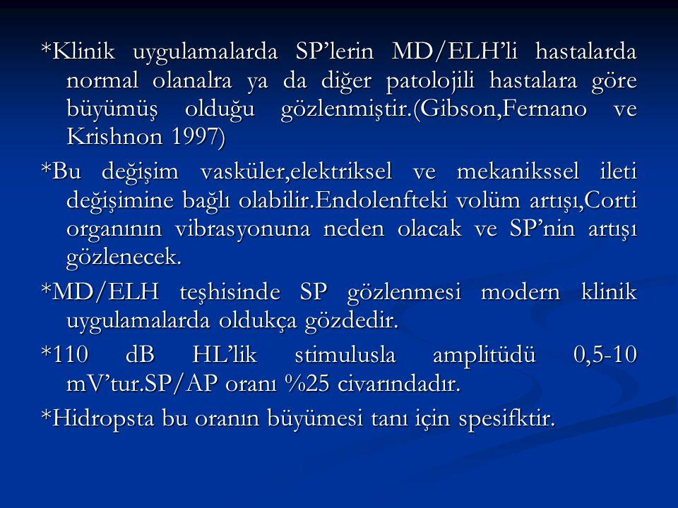 *Klinik uygulamalarda SP'lerin MD/ELH'li hastalarda normal olanalra ya da diğer patolojili hastalara göre büyümüş olduğu gözlenmiştir.(Gibson,Fernano