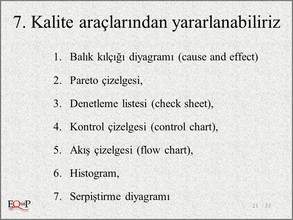 7. Kalite araçlarından yararlanabiliriz 1.Balık kılçığı diyagramı (cause and effect) 2.Pareto çizelgesi, 3.Denetleme listesi (check sheet), 4.Kontrol