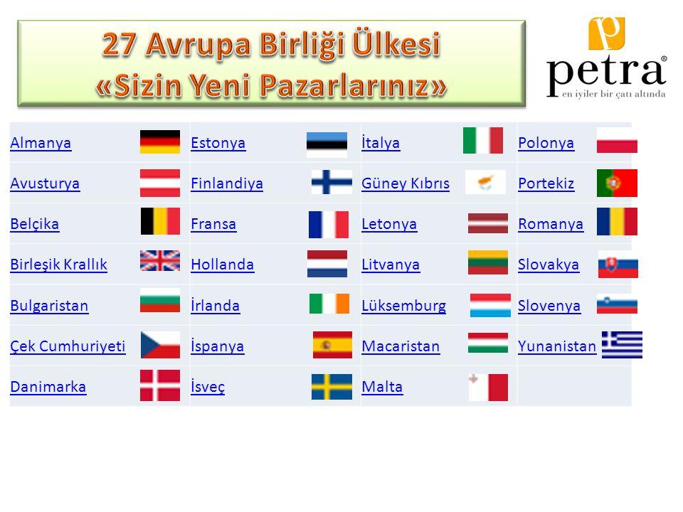AlmanyaEstonyaİtalyaPolonya AvusturyaFinlandiyaGüney KıbrısPortekiz BelçikaFransaLetonyaRomanya Birleşik KrallıkHollandaLitvanyaSlovakya BulgaristanİrlandaLüksemburgSlovenya Çek CumhuriyetiİspanyaMacaristanYunanistan DanimarkaİsveçMalta