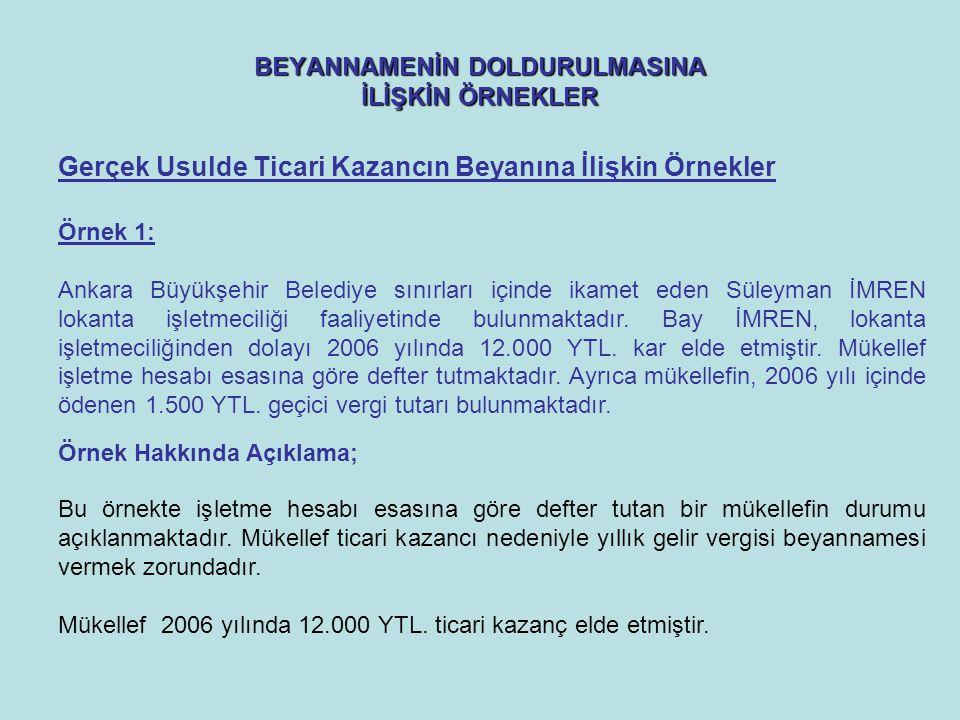 BEYANNAMENİN DOLDURULMASINA İLİŞKİN ÖRNEKLER Örnek 1: Ankara Büyükşehir Belediye sınırları içinde ikamet eden Süleyman İMREN lokanta işletmeciliği faaliyetinde bulunmaktadır.