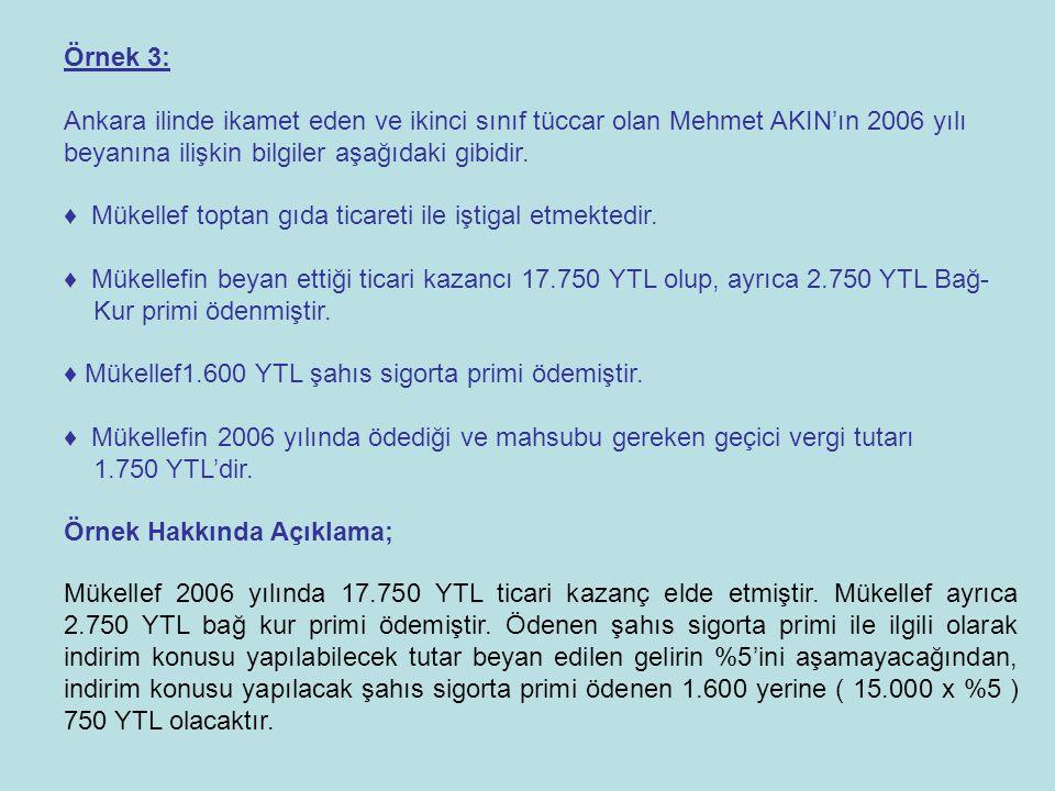 Örnek 3: Ankara ilinde ikamet eden ve ikinci sınıf tüccar olan Mehmet AKIN'ın 2006 yılı beyanına ilişkin bilgiler aşağıdaki gibidir.